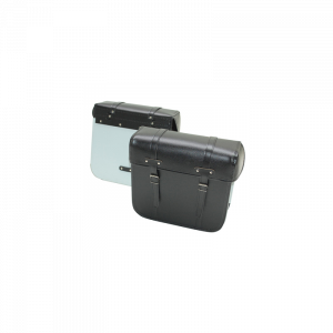 SACOCHE CYCLO SPORFABRIC R40 STYLE VINTAGE - DOS METAL - FIXATION PAR COURROIES - EFFET CUIR NOIR (33x32x14cm) (PAIRE)