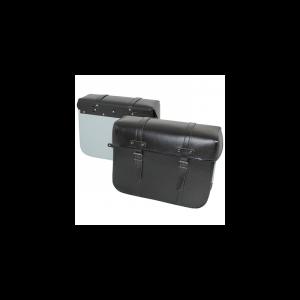 SACOCHE CYCLO SPORFABRIC R50 STYLE VINTAGE - DOS METAL - FIXATION PAR COURROIES - EFFET CUIR NOIR (38x31x14cm) (PAIRE)