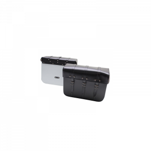 SACOCHE CYCLO SPORFABRIC R80 STYLE VINTAGE - DOS METAL - FIXATION PAR COURROIES - EFFET CUIR NOIR (43x33x16cm) (PAIRE)